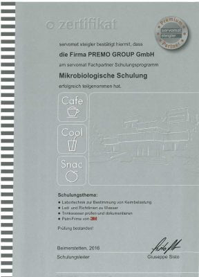 """Zertifikat """"Mikrobiologische Schulung"""" im Rahmen des servomat Fachpartner Schulungsprogramms"""